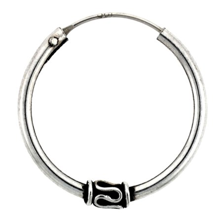 (Sterling Silver Medium Bali Hoop Earrings, 15/16 inches diameter)