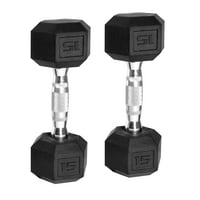 Deals on 2-Set CAP SDRS-030 Barbell Rubber-Coated Hex Dumbbells 15lbs