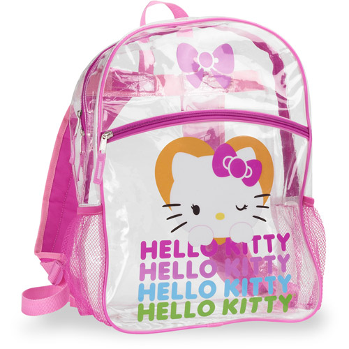 "Hello Kitty Clear 16"" Backpack with Pink Trim"
