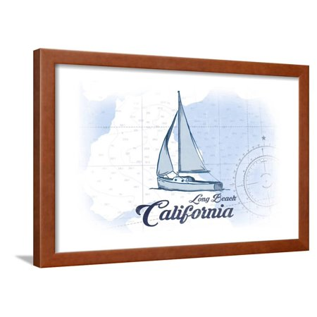 Long Beach, California - Sailboat - Blue - Coastal Icon Framed Print Wall Art By Lantern Press ()