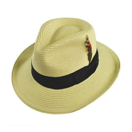 Summer C-Crown Toyo Straw Fedora Hat - XXL - Natural