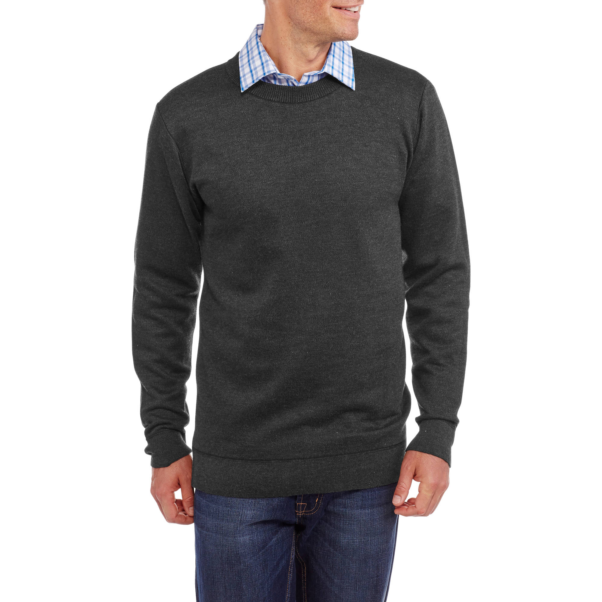 Sahara Club Men's Long Sleeve Yarn Dyed Solid Crew Neck Sweater