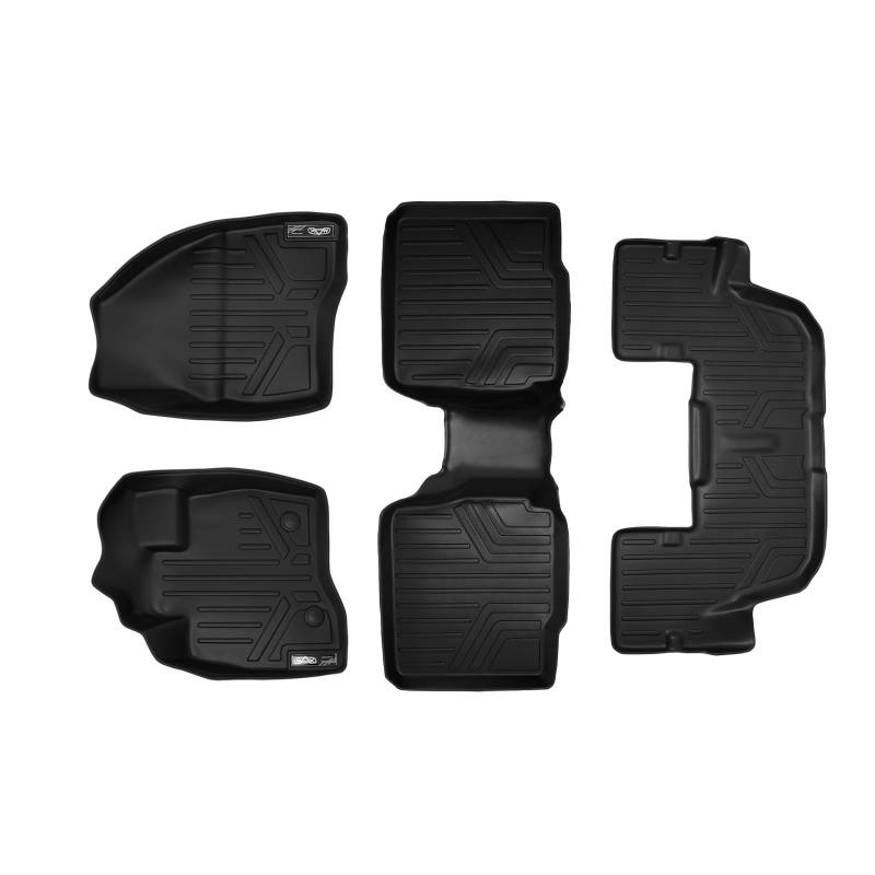 Maxliner 2015-2016 Ford Explorer Floor Mats With Second Row Center Console 3 Row Set Black A0161/B0109/C0082