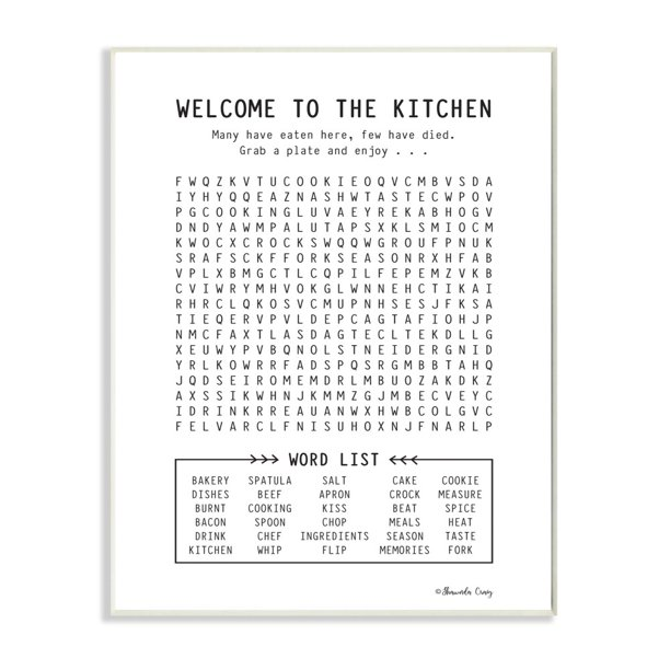 The Stupell Home Decor Black And White Kitchen Crossword Puzzle Sign Walmart Com Walmart Com