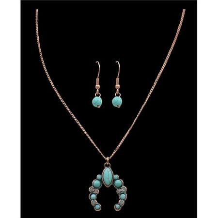 Squash Blossom Necklace (M&F Western DNE0736PCTQ Patina & Turquoise Squash Blossom)