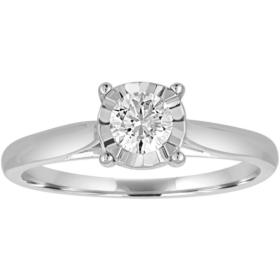 Forever Bride 1 2 Carat T.W. Diamond 10kt White Gold Miracle Plate Solitaire Engagement Ring by Generic