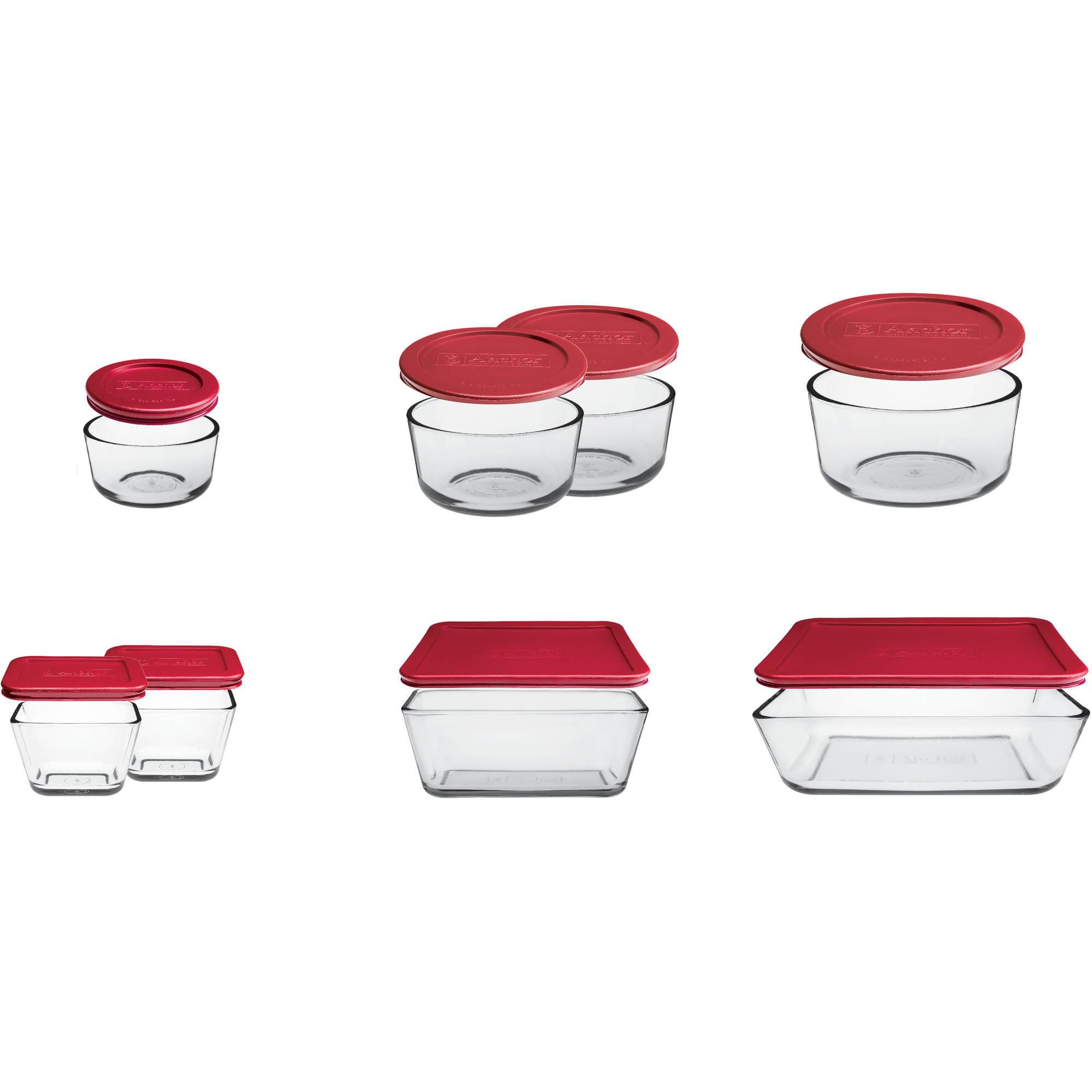 Anchor Hocking 16-Piece Kitchen Food Storage Set with Red Lids