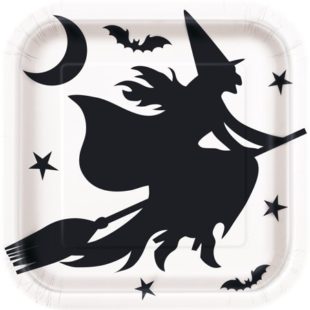 Square Black Bats Halloween Paper Plates, 9 in, 8ct