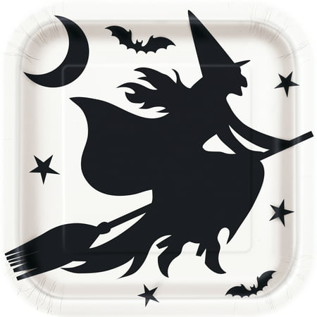 Pioneer Square Halloween (Square Black Bats Halloween Paper Plates, 9 in,)