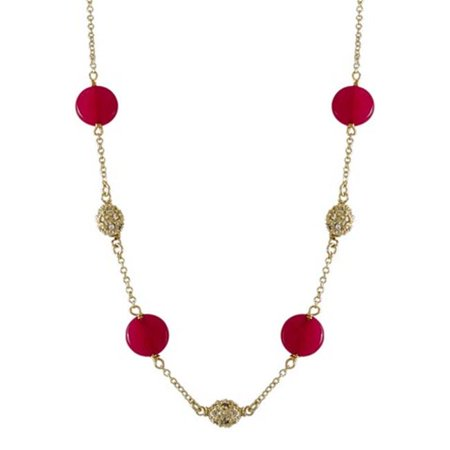 Ruby Jade Semi Precious Coin Stones with Gold Plated Brass 16 x 2 in. Long Necklace with Cubic Zirconia
