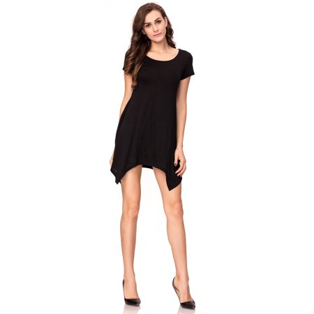 One Sight Womens Tunic Tops Loose Fit Round Collar T Shirt Dress With Short Sleeve   Swing Pocket Three Colors Options