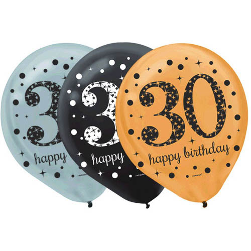 Over the Hill 'Sparkling Celebration' 30th Birthday Latex Balloons (15ct)