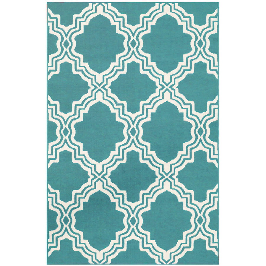 Mainstays Fancy Fret Area Rug, Teal   Walmart.com