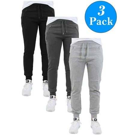 2c6bf0073d98 GBH - Men s Slim-Fit Jogger Sweatpants With Zipper Pockets (3-Pack ...