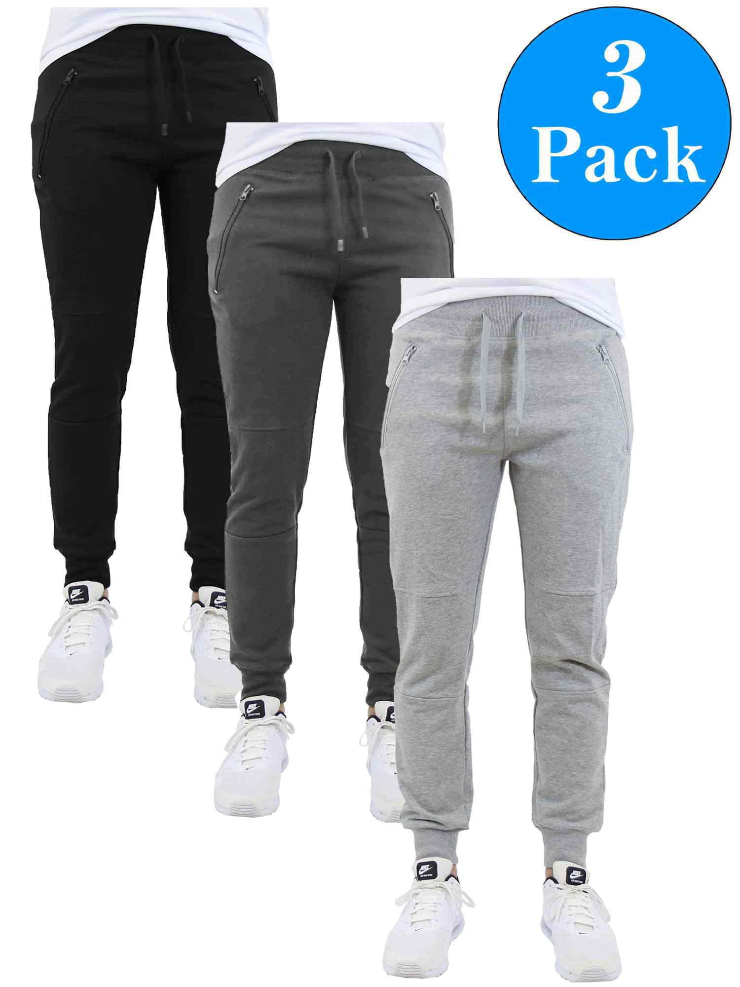 Men's Slim-Fit Jogger Sweatpants With Zipper Pockets (3-Pack)