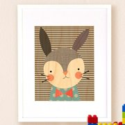 Petit Collage Dapper Rabbit, Small Framed Art