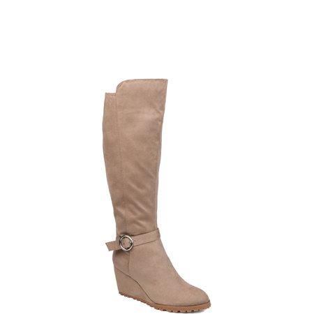 Womens Comfort Microsuede Wedge Boot Black Suede Wedge Boots