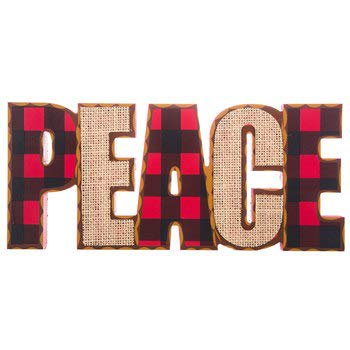Peace Buffalo Check & Burlap Wood Decoration Wall Home Office Cabin Decor (Peace Decorations)