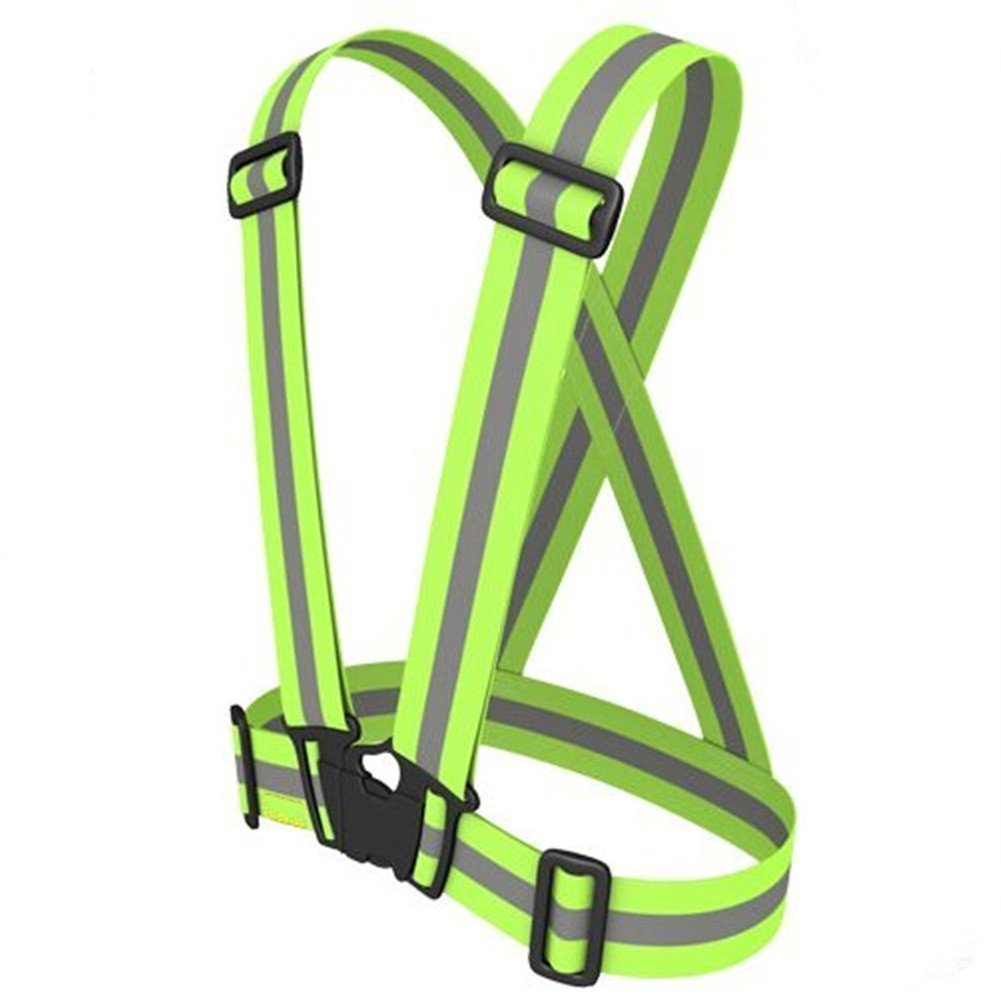 Reflective Vest with Hi Vis Bands, Fully Adjustable & Multi-purpose: Running, Cycling, Motorcycle Safety, Dog Walking - High Visibility Neon Green