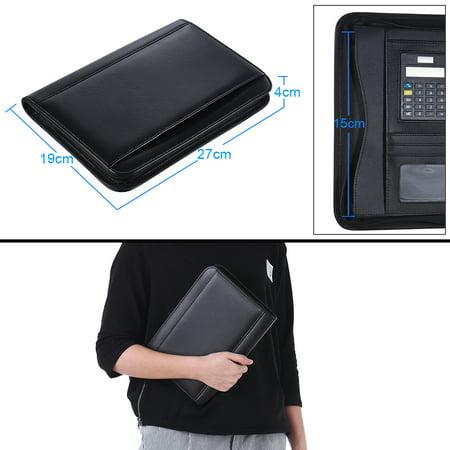 Portable Professional Business Portfolio Padfolio Folder Document Case Organizer A5 PU Leather Zippered Closure with Calculator Card Holder Memo Note Writing Pad - image 4 of 7