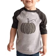 7 ate 9 Apparel Kid's Leopard Pumpkin Fall Halloween Shirt Grey Tee Youth Small