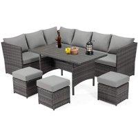 Deals on Danrelax 7-Piece Patio Conversation Set Outdoor Sectional Sofa
