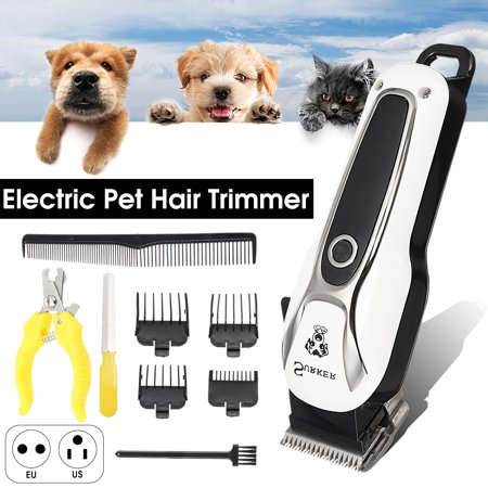11PCS 5-Speed Quiet Mute Rechargeable Cordless Electric Trimmer Clipper Shaver Dog Nail Hair Grooming Scissors Kit Pet Cat for Titanium Stainless Steel Cutting Machine
