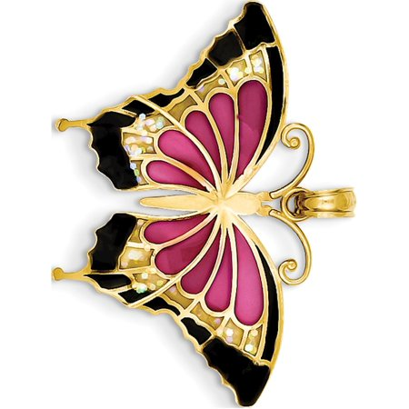 14k Yellow Gold Translucent Acrylic Butterfly (31x24mm) Pendant / Charm