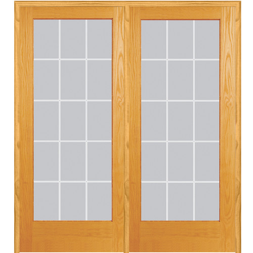 Verona Home Design Wood 2-Panel Natural Interior French Door