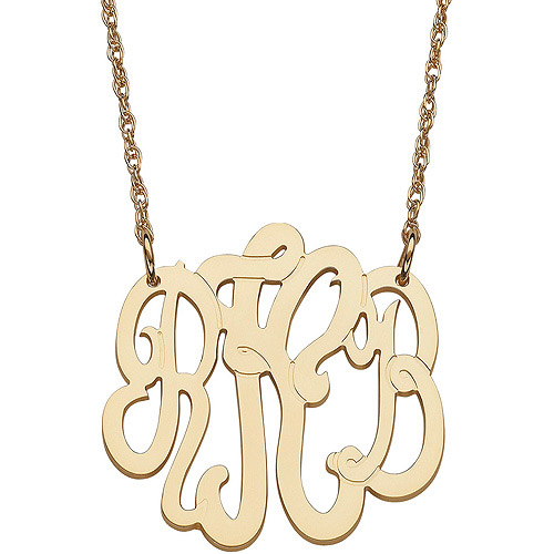 Personalized Women's 10kt Yellow Gold 3-Initial Monogram Necklace, Small, 18""