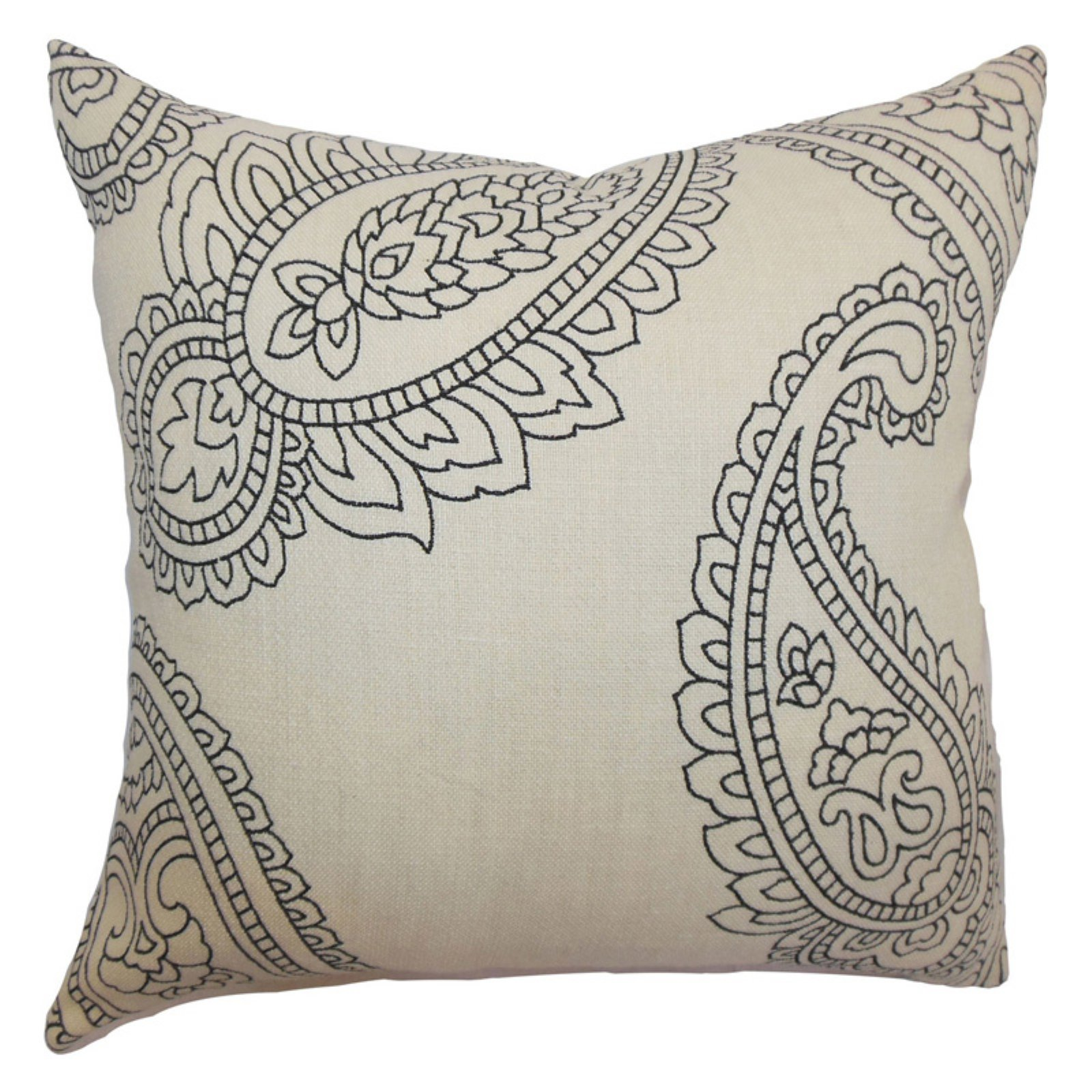 The Pillow Collection Verity Paisley Pillow - Charcoal