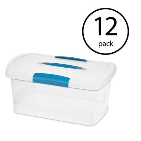 Sterilite 18748606 Medium Nesting ShowOffs Clear File Box w/ Latches  (12 Pack) 3 Nesting Leather Boxes