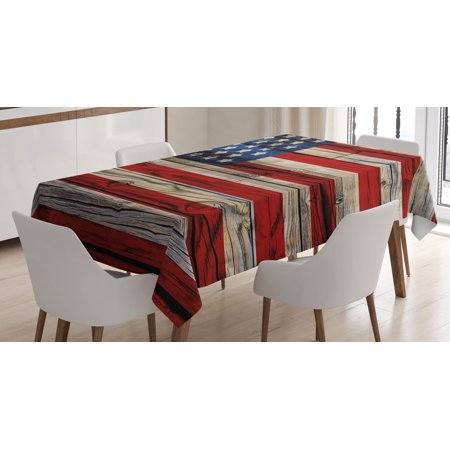 - 4th of July Decor Tablecloth, Old Fashion Retro Illustration with Independence Day Quote National Love Print, Rectangular Table Cover for Dining Room Kitchen, 52 X 70 Inches, Multi, by Ambesonne