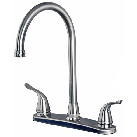 Stainless Steel 3 Hole Installation - Builders Shoppe 1270SS Two Handle High Arc Kitchen Faucet for Three Hole Kitchen Sink Stainless Steel Finish
