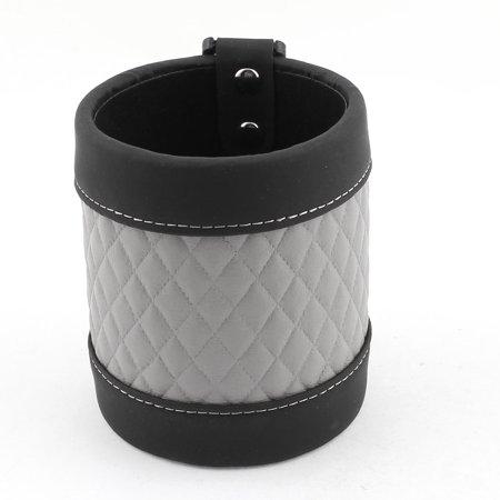 Unique Bargains Car Vent Mount Checked Pattern Cell Phone Pouch Storage Pocket Bag Gray Black