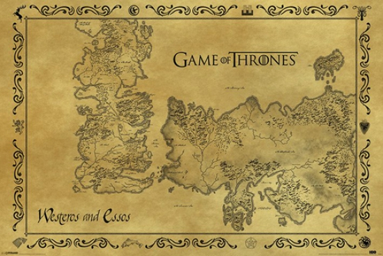 picture relating to Free Printable Map of Westeros referred to as Recreation of Thrones Antique Map of Westeros Essos Poster Print (36 x 24)