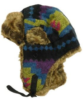 4dd91d90e940c Product Image Womens Blue Green Navy Lilac Magenta Black   Faux Fur Tribal  Print Trapper Hat