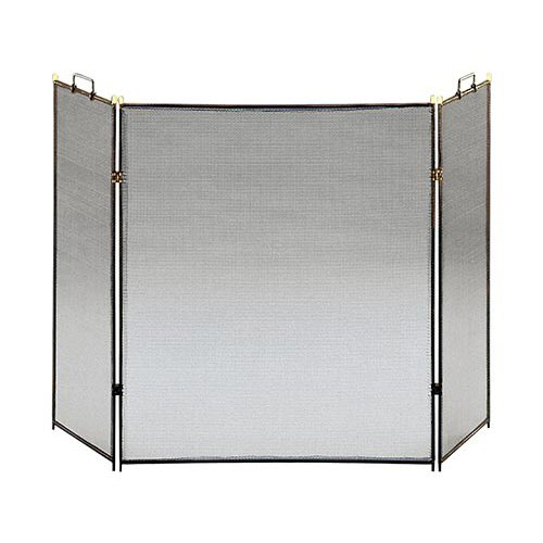 Minuteman International 3-Fold Fireplace Screen Black by Minuteman International