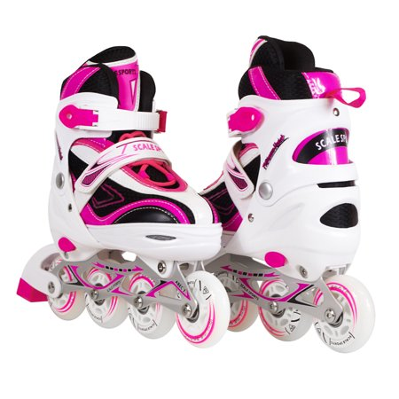 Kids/Teen Adjustable Inline Skates for Girls and Boys with Illuminating Front Wheel Micro Adjust In Line Skate
