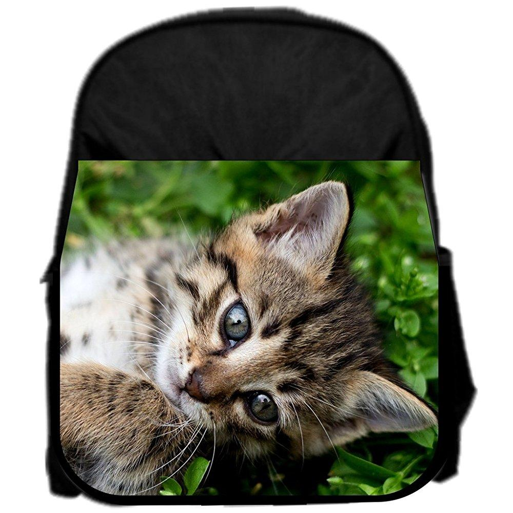 lea elliot pre-school backpack, kitty in the grass, small, black