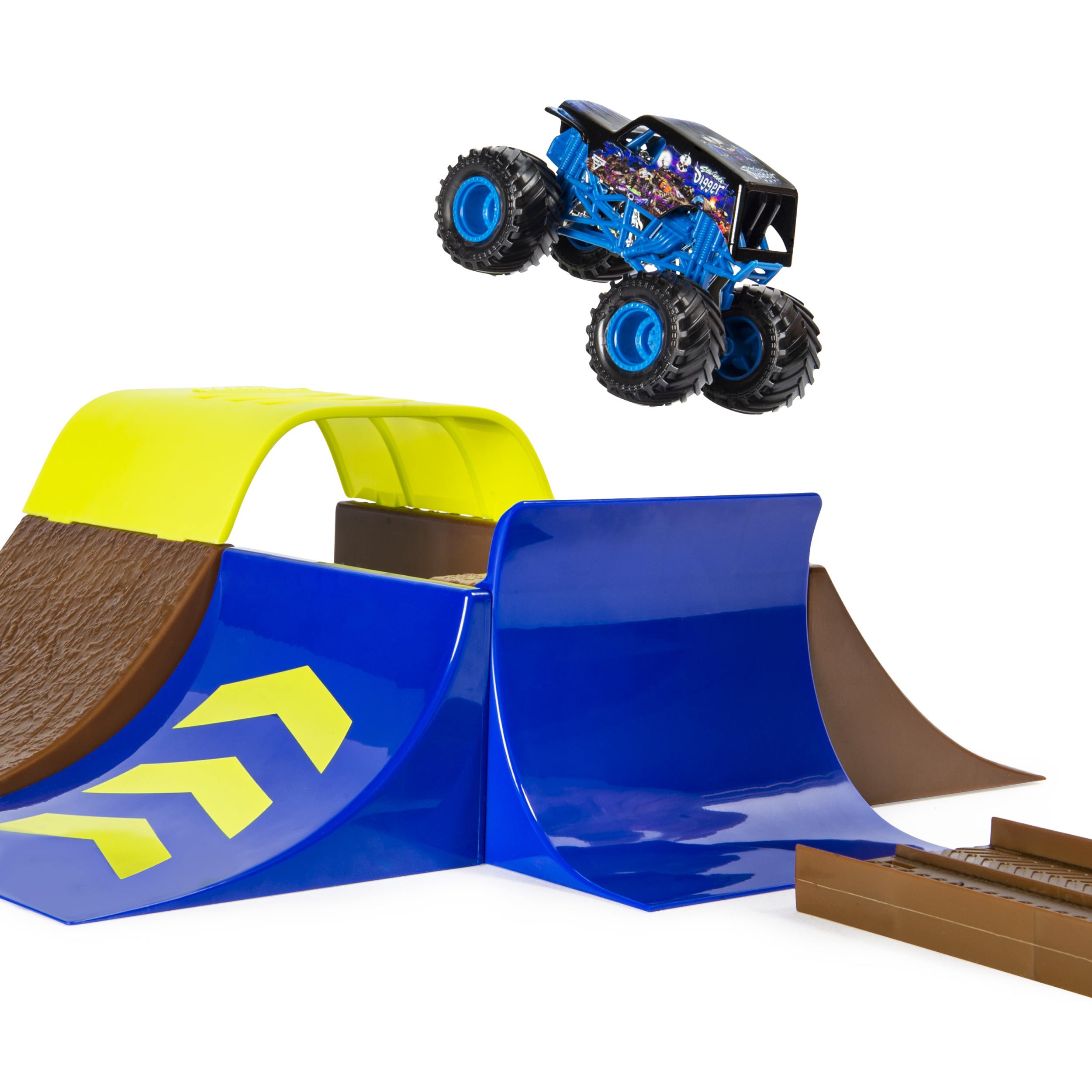 Monster Jam Official Champ Ramp Freestyle Playset Featuring Exclusive 1 64 Scale Cast Son Uva Digger Truck