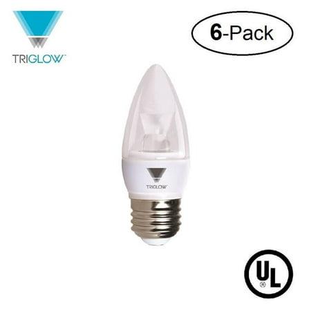 TriGlow T95544-6 5 - 40 watt Equivalent LED Candelabra Bulb, Dimmable 3000K Soft White Color 325 Lumen E26 Medium Base Light Bulb, UL Listed, Bulbs, Pack of 6 - image 1 de 1