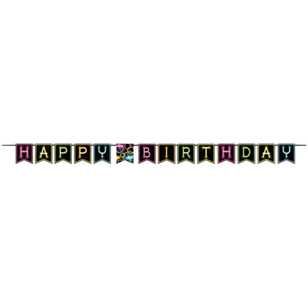 """Club Pack of 6 """"Happy Birthday"""" Glow Party Decorative Paper Pennant Ribbon Banners 18"""