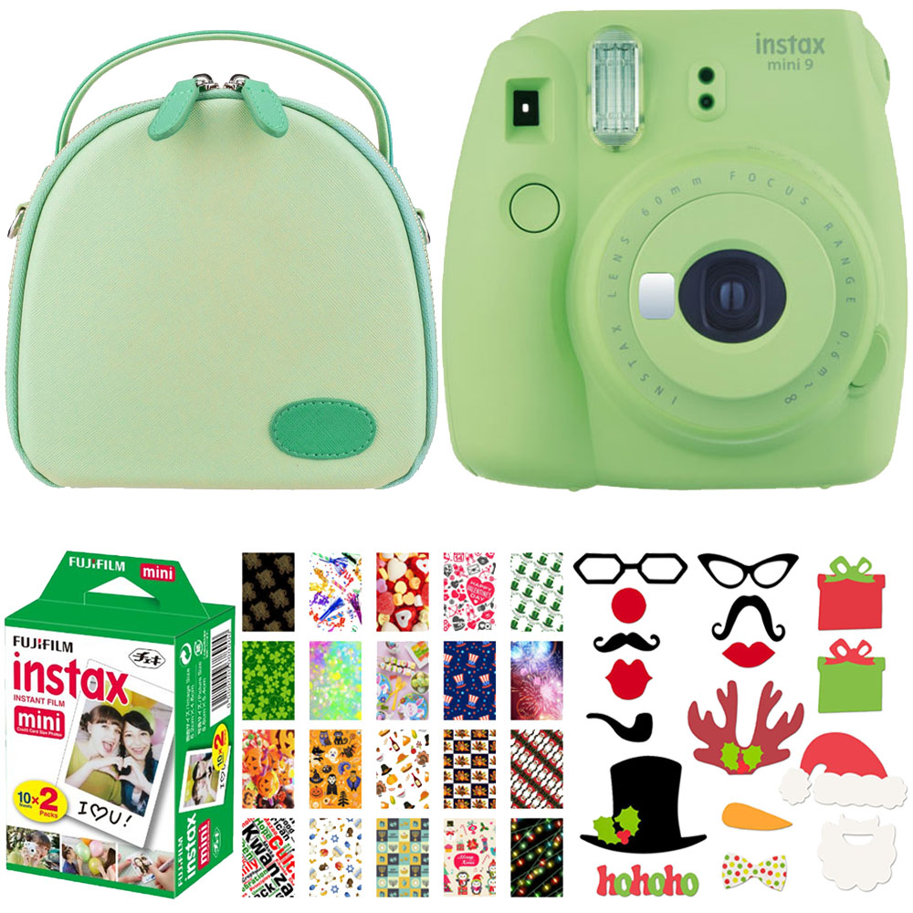 Holiday Special! Expand your Creativity! Fujifilm Instax Mini 9 Green Camera + Green Case designed for Fujifilm Mini Cameras + Holiday Photo Booth Props + Holiday Themed Photo Frames + Twin Film 20 pk