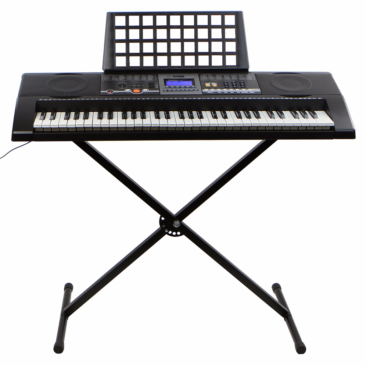 XtremepowerUS 61-Key Electronic Keyboard w/ LCD Display and X Stand – Black