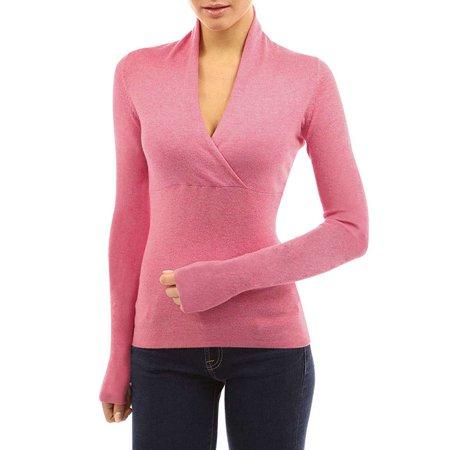 Garter Stitch Jacket - Women's Sexy V Long Sleeve Collar Overlapping Stitching Jacket Tops