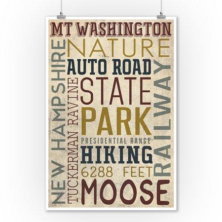 Mt. Washington Auto Road, New Hampshire - Typography - Lantern Press Poster (9x12 Art Print, Wall Decor Travel Poster) ()