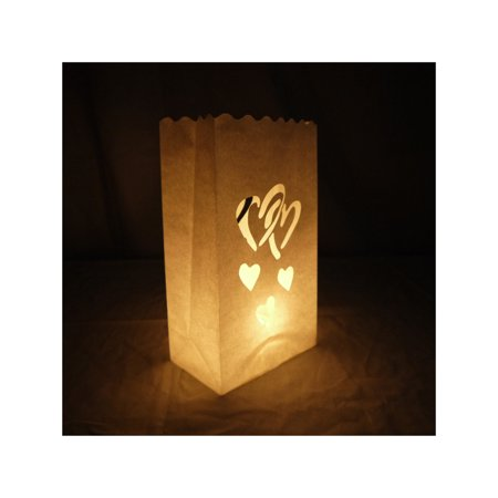 Quasimoon Double Heart Paper Luminaries / Luminary Lantern Bags Path Lighting (10 PACK) by PaperLanternStore (Paper Lanterns Cheap)