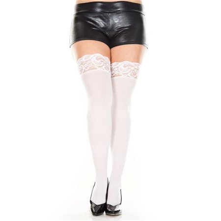 Music Legs 4747Q-WHITE Plus Size Lace Top Opaque Thigh High Stockings, White - image 1 of 1