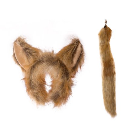 Wildlife Tree Plush Fennec Fox Ears Headband and Tail Set for Fennec Fox Costume, Cosplay, Pretend Animal Play or Safari Party - Fox Ears And Tail Set